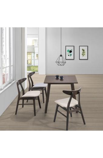 HORIZON Set Τραπεζαρία Ξύλινη Σαλονιού - Κουζίνας:Τραπέζι + 4 Καρέκλες Wenge -Ύφασμα Εκρού