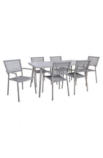 MIRANDA Set Τραπεζαρία Κήπου Βεράντας Τραπέζι 160x90 + 6 Πολυθρόνες Alu/Pu Rope Γκρι