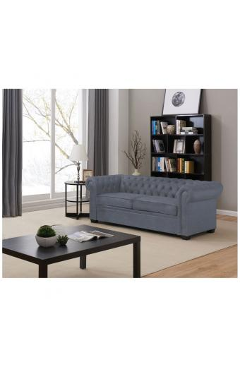CHESTERFIELD Καναπές - Κρεβάτι Σαλονιού - Καθιστικού 3Θέσιος Ύφασμα Σκούρο Γκρι