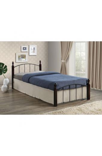 ARAGON κρεβάτι Steel μαύρο/Ξύλο καρυδί