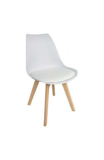MARTIN STRIPE Καρέκλα Ξύλινο Πόδι - PP Άσπρο