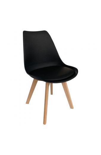 MARTIN STRIPE Καρέκλα Ξύλινο Πόδι - PP Μαύρο