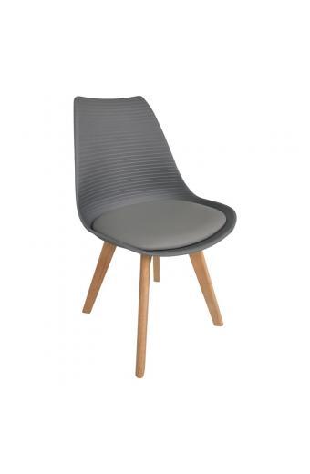 MARTIN STRIPE Καρέκλα Ξύλινο Πόδι - PP Γκρι