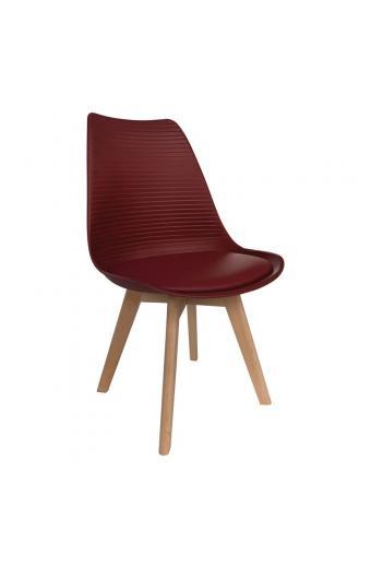 MARTIN STRIPE Καρέκλα Ξύλινο Πόδι - PP Μπορντώ