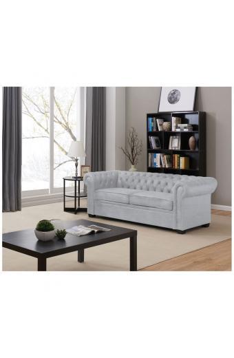 CHESTERFIELD Καναπές - Κρεβάτι Σαλονιού - Καθιστικού 3Θέσιος Ύφασμα Ανοιχτό Γκρι