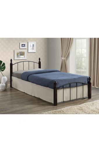 ARAGON Set Κρεβάτι Ημιδ.Μαύρο/ Καρυδί + Στρώμα Bonnell 2-Side