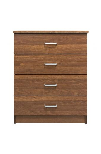 DRAWER Συρταριέρα με 4 Συρτάρια - Απόχρωση Καρυδί