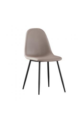CELINA Καρέκλα Μέταλλο Βαφή Μαύρο - Pvc Cappuccino
