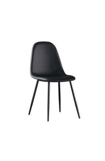 CELINA Καρέκλα Μέταλλο Βαφή Μαύρo - Pvc Μαύρο