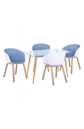 OPTIM Set Β Τραπεζαρία:Τραπέζι + 4 Πολυθρόνες Μέταλλο Φυσικό / PP Άσπρο Ύφασμα Μπλε