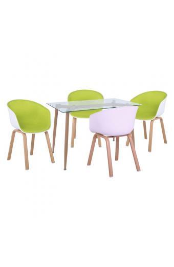 OPTIM Set Α Τραπεζαρία:Τραπέζι + 4 Πολυθρόνες Μέταλλο Φυσικό / PP ΆσπροΎφασμα Lime