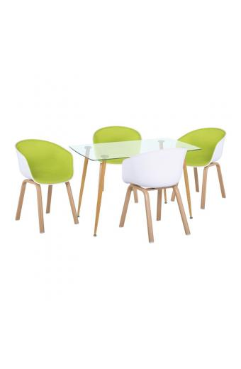 OPTIM Set Α Τραπεζαρία:Τραπέζι + 4 Πολυθρόνες Μέταλλο Φυσικό / PP Άσπρο Ύφασμα Lime