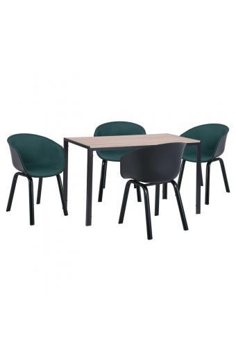 OPTIM Set Β Τραπεζαρία:Τραπέζι + 4 Πολυθρόνες Μέταλλο Μαύρο / PP Μαύρο Ύφασμα Πράσινο