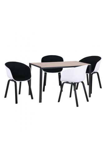 OPTIM Set Β Τραπεζαρία:Τραπέζι + 4 Πολυθρόνες Μέταλλο Μαύρο / PP Άσπρο Ύφασμα Μαύρο