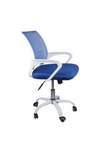 BF2101-SW Πολυθρόνα Γραφείου με ανάκλιση Άσπρο / Mesh Μπλε