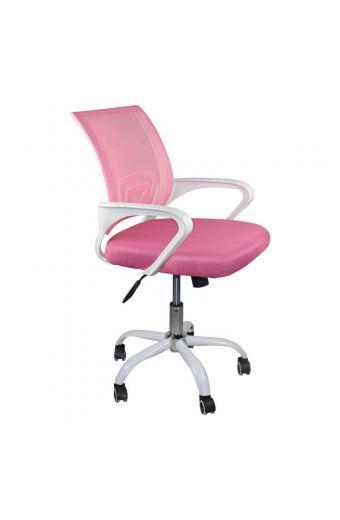 BF2101-SW Πολυθρόνα Γραφείου με ανάκλιση Άσπρο / Mesh Ροζ