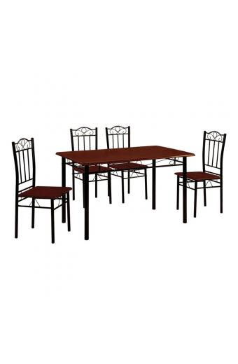 LUTON Set Τραπεζαρία Κουζίνας Μέταλλο Βαφή Μαύρο - Κερασί : Τραπέζι 120x70cm + 4 Καρέκλες