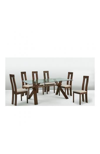 PELLA Set Τραπεζαρία Σαλονιού- Κουζίνας Τραπέζι + 6 Καρέκλες Καρυδί Burn Beech -Ύφασμα Μπεζ