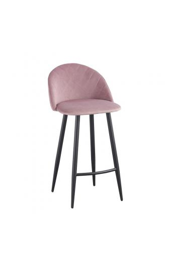 BELLA Σκαμπώ Bar Μέταλλο Βαφή Μαύρο - Ύφασμα Velure Dirty Pink