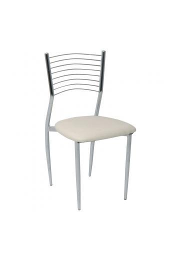 VIVIAN καρέκλα Χρώμιο/PVC Εκρού