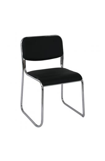 CAMPUS Καρέκλα Γραφείου Επισκέπτη - Στοιβαζόμενη Χρώμιο / Hard PVC Μαύρο