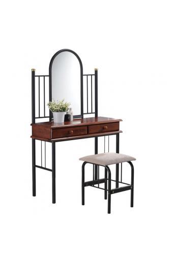 FLORA SET Τουαλέτα με Καθρέπτη + Σκαμπό 2 Συρτάρια / Μέταλλο Βαφή Μαύρο - Ξύλο Καρυδί
