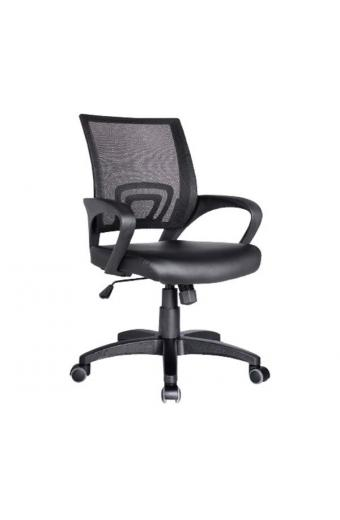 BF2101 Πολυθρόνα Γραφείου με Ανάκλιση Μαύρο Mesh - PU Μαύρο