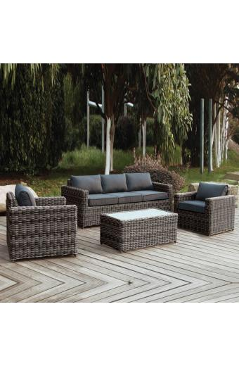 ARIZONA Set Σαλόνι 3θέσιου 4mmHalfRound Wicker Grey/Brown