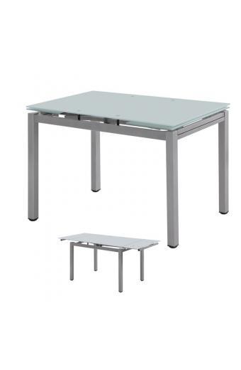 BLOSSOM Τραπέζι Επεκτεινόμενο Βαφή Γκρι/Γυαλί Άσπρο