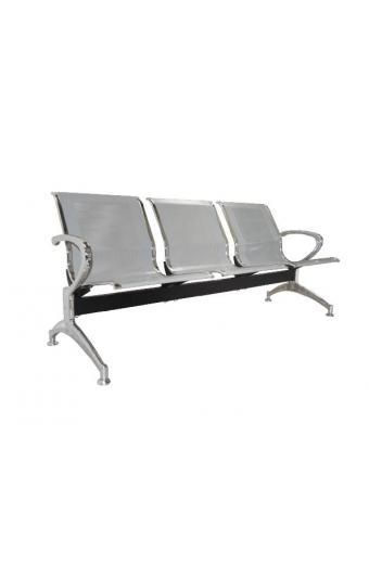 Κάθισμα Αναμονής - Υποδοχής 3 Θέσεων Μέταλλο Χρώμιο Mesh Γκρι