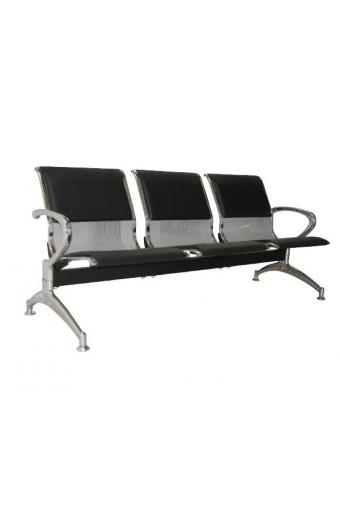 Κάθισμα Αναμονής - Υποδοχής 3 Θέσεων Μέταλλο Χρώμιο PVC Μαύρο