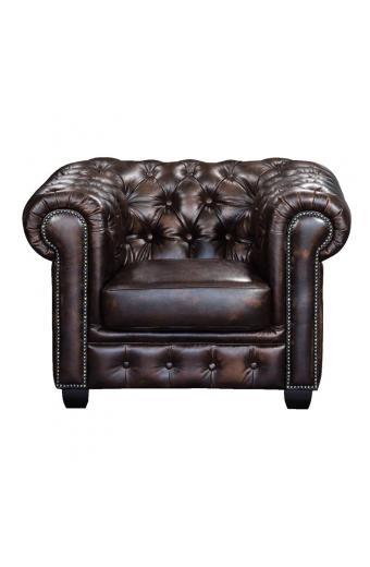 CHESTERFIELD 689 Πολυθρόνα Σαλονιού - Καθιστικού / Δέρμα Καφέ