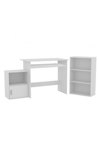 DECON Set Γραφείο Άσπρο : Γραφείο 90x50x75cm Βιβλιοθήκη 50x23x80cm Ντουλάπι 41x29x54cm