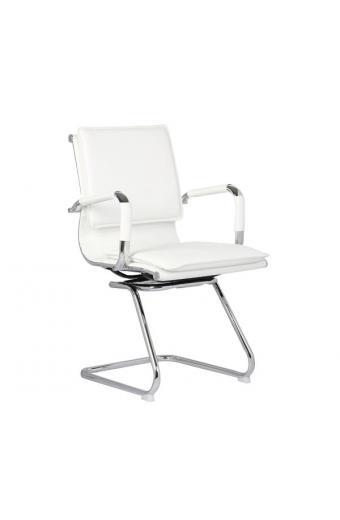 BF3600V Πολυθρόνα Γραφείου Επισκέπτη - Μέταλλο Βάση Χρώμιο - PU Άσπρο