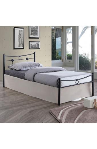 DUGAN Κρεβάτι Μονό Μέταλλο Βαφή Σφυρήλατο Μαύρο