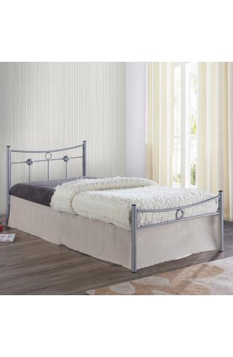 DUGAN Κρεβάτι Μονό Μέταλλο Βαφή Silver