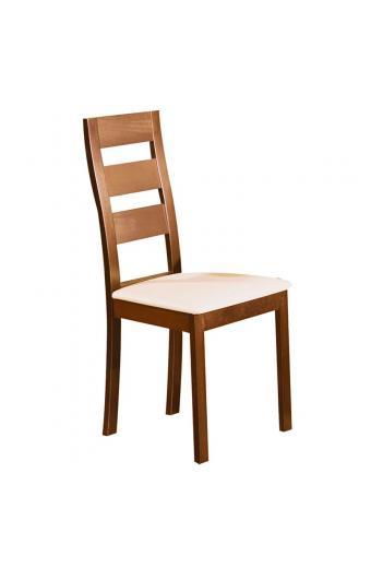 MILLER Καρέκλα Οξυά Honey Oak - PVC Εκρού