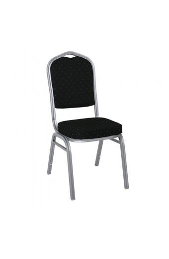 HILTON Καρέκλα Μεταλλική Silver/Ύφασμα Μαύρο