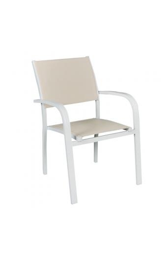 AMIRAL πολυθρόνα dining Alu Άσπρο/Textilene Μπεζ