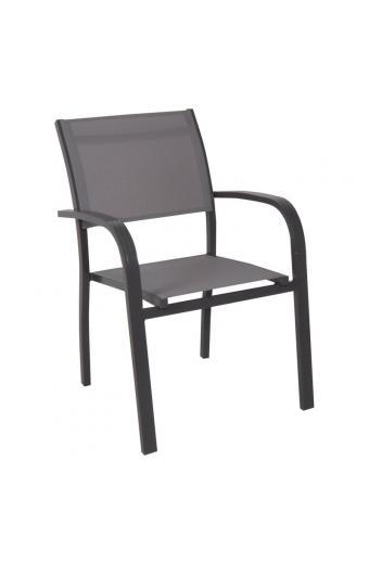 AMIRAL πολυθρόνα dining Alu Ανθρακί/Textilene Γκρι