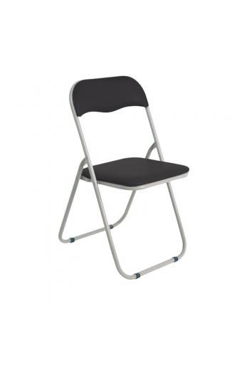 LINDA Καρέκλα Πτυσσόμενη Βαφή Γκρι - Pvc Μαύρο
