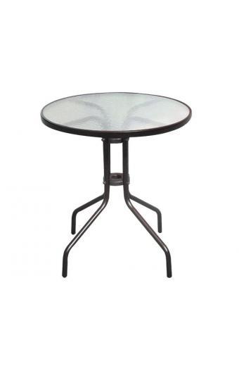BALENO Τραπέζι Μέταλλο Βαφή Καφέ - Γυαλί Tempered