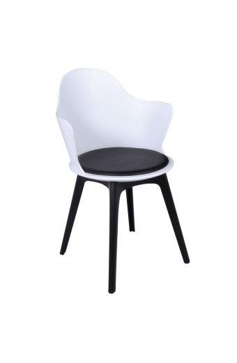 MAGNA PP Πολυθρόνα PP Άσπρο - Κάθισμα PU Μαύρο