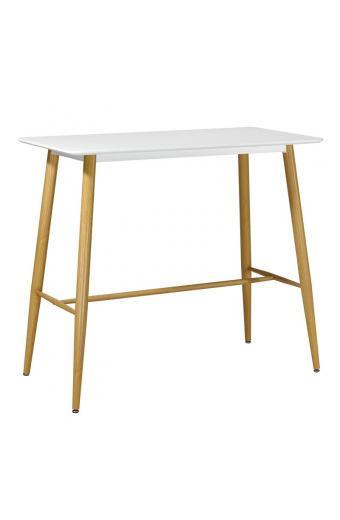 LAVIDA Τραπέζι BAR Μέταλλο Βαφή Φυσικό - Άσπρο MDF