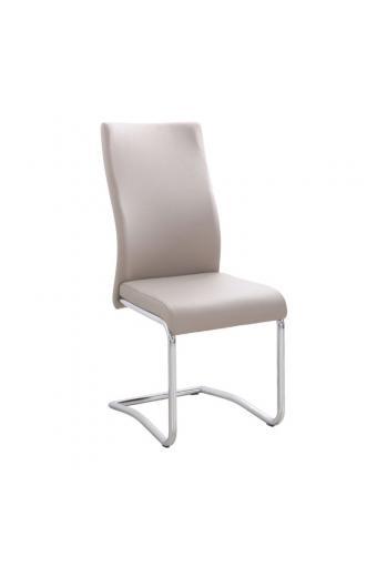 BENSON Καρέκλα Μέταλλο Χρώμιο - PVC Cappuccino