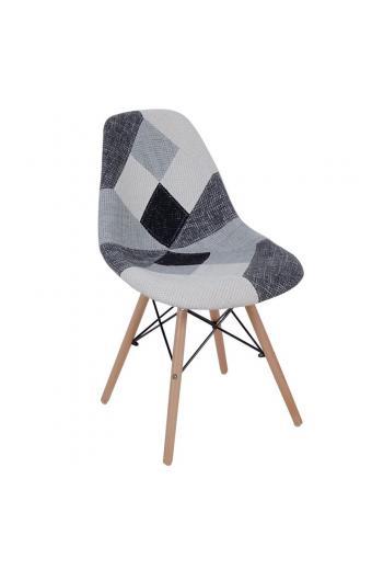ART Wood καρέκλα Ξύλο-PP/Ύφ.Patchwork B&W