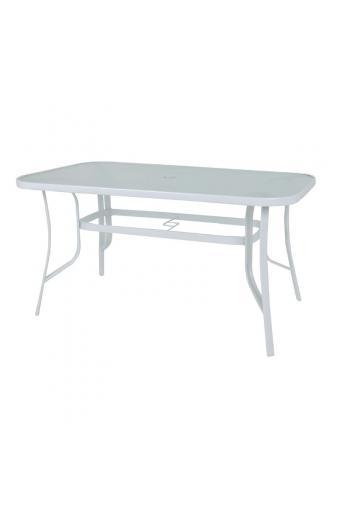 RIO Τραπέζι Μέταλλο Βαφή Λευκό - Γυαλί Pear Clear