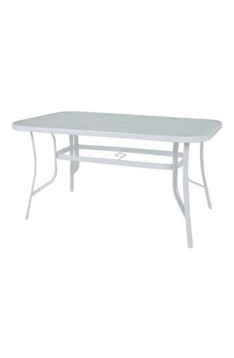 RIO Τραπέζι Μέταλλο Βαφή Άσπρο - Γυαλί Pear Clear