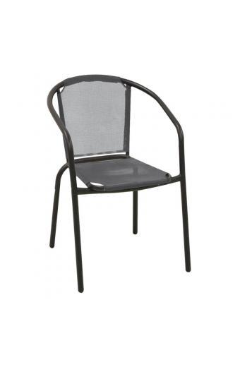 BALENO Πολυθρόνα Μεταλλική Μαύρη/Textilene Γκρι