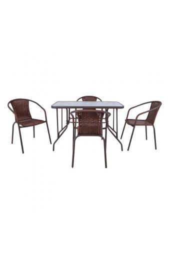 BALENO Set Τραπεζαρία Κήπου : Τραπέζι + 4 Πολυθρόνες Μέταλλο Καφέ / Wicker Brown